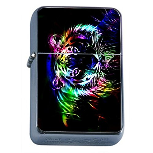 (Neon Rainbow Tiger Flip Top Oil Lighter Em2 Smoking Cigarette Silver Case Included)
