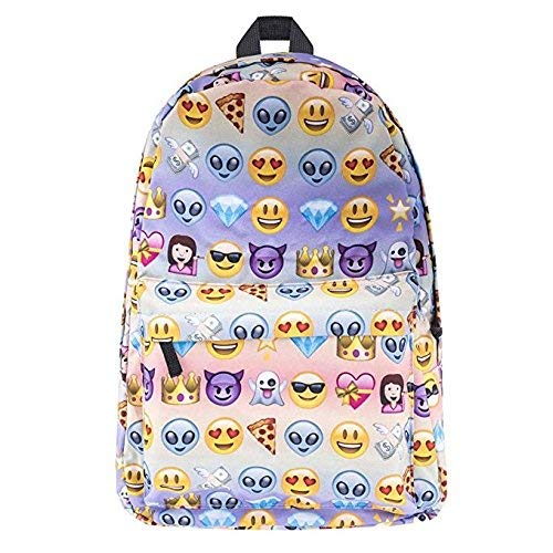XMCOWAYOU 3D Printing Smiling Face Soft Casual Daypacks Emoji School Book Bags Backpack (Smiling Face Printing)