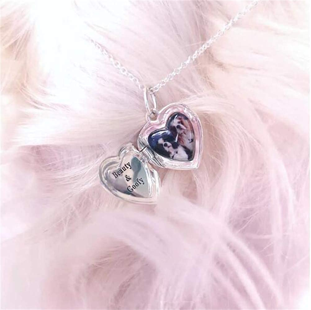 Personalized Heart Photo Lockets Necklace 925 Sterling Silver Custom Picture Engrave Text