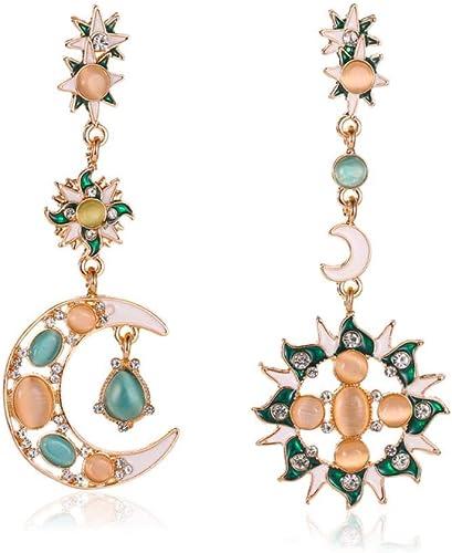 Geometric Star Wooden Dangle Earrings Girl Asymmetric Metal Stud Earring  UK