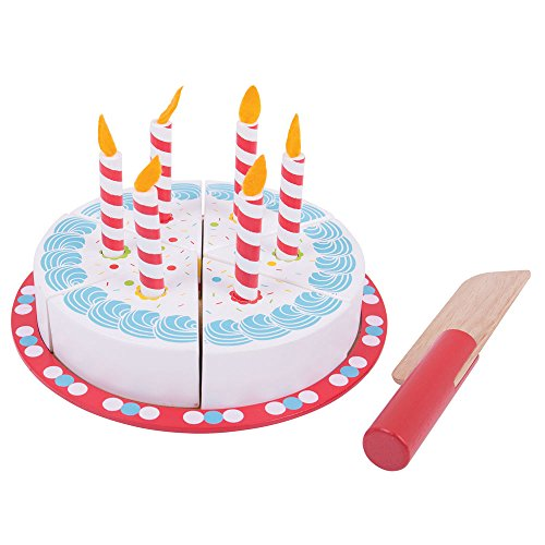 (Bigjigs Toys Wooden Birthday Cake with Candles - Play Food Toys)