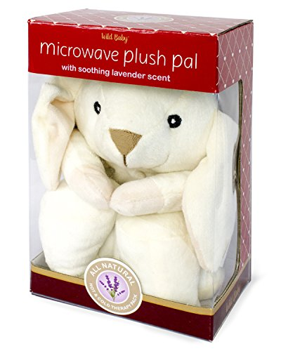 """WILD BABY Microwave Plush Pal - Cozy Heatable Stuffed Animal with Lavender Scent, 10"""" White Snow Bunny"""