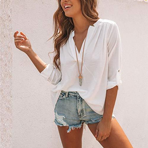 Tinta Camicia Itisme Bianco Damen Corta Unita Impero Tops Manica Donna xAxv4Iq6