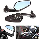 Universal Black Adjustable Motorcycle 7/8 Handle Bar End Rearview Side Mirrors Blue for Harley Honda Yamaha Suzuki Kawasaki