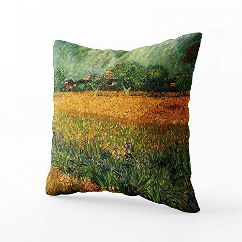 Musesh Van Gogh View of Arles w Irises Vintage fine Art Cushions Case Throw Pillow Cover for Sofa Home Decorative Pillowslip Gift Ideas Household Pillowcase Zippered Pillow Covers 18X18Inch