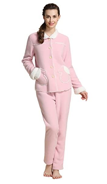insun color sólido de la mujer forro polar grueso cálido pijama Set: Amazon.es: Ropa y accesorios