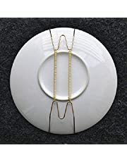 """SAGUARO Pack of 10 12-Inch Spring Style Invisible Plate Tray Dish Wire Hanger Holders Brass Coated, Holds 10.5"""" to 12.5"""" Plates"""