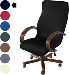 NORTHERN BROTHERS Office Chair Cover Computer Desk Chair Covers Stretch Rolling Chair Slipcover (Black)