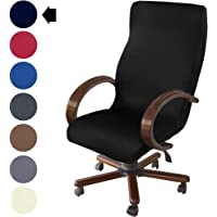 NORTHERN BROTHERS Office Chair Cover Computer Chair Cover Boss Rolling Chair Slipcover (Black, Large)