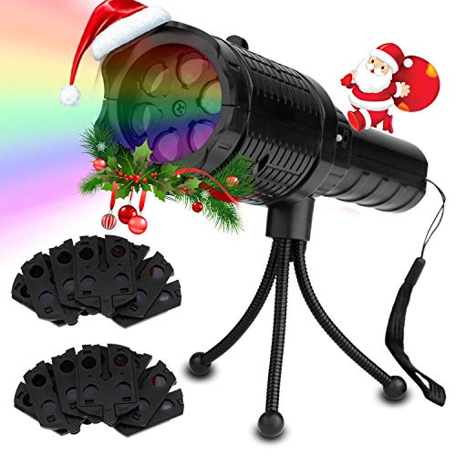 Htwon Handheld Halloween Projector Lights, LED Projection Holiday Lights with 12 Pattern Slides and Tripod, Portable 2 in 1 Decoration Light Show & Handheld Flashlight for Christmas, Birthday Party ()