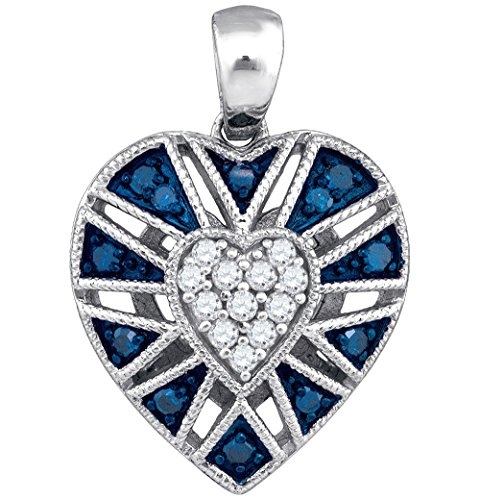 (Mediterranean Blue Diamonds 10k White Gold Stunning Heart Necklace Pendant 1/4 Ctw.)