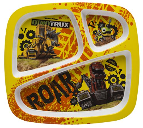 (Zak Designs Dinotrux 3-section Kids Plate, Dozer, Revvit & Ty)