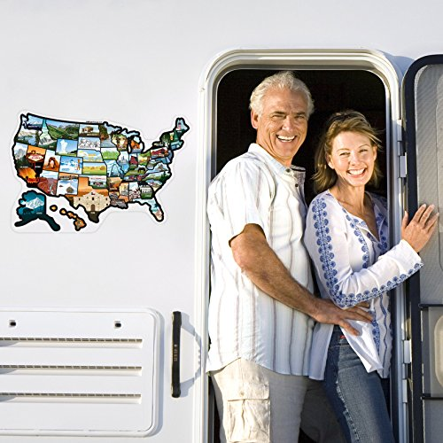 SEE MANY PLACES .com RV State Stickers United States Travel Camper Map RV Decals for Window Door or Wall ~ Includes 50 State Decal Stickers with Scenic Illustrations 19x13