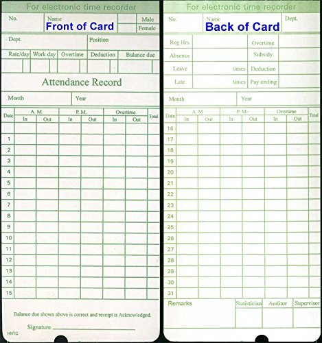 300 Compatible Time Cards for uPunch HN1000 HN3000 AutoAlign Time Clock uPTC1000-1 HNTC