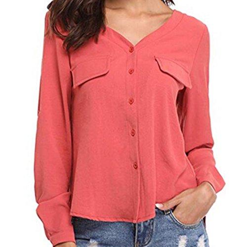 Damen V-Ausschnitt Knopf Langarm Tops DOLDOA Oberteile T-Shirt Bluse Rot