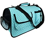 Soft Sided Pet Carrier for Dogs and Cats - Airline Approved Travel bag for Small Animals by bogo Brands (Blue Flower)