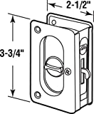 """Prime-Line N 7367 Pocket Door Privacy Lock with Pull - Replace Old or Damaged Pocket Door Locks Quickly and Easily – Satin Nickel, 3-3/4"""""""