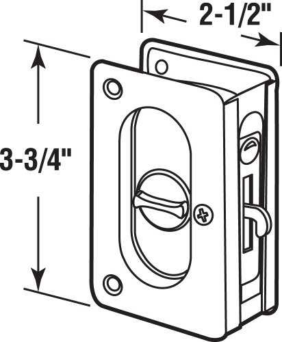 """Prime-Line N 7367 Pocket Door Privacy Lock with Pull - Replace Old or Damaged Pocket Door Locks Quickly and Easily - Satin Nickel, 3-3/4"""""""