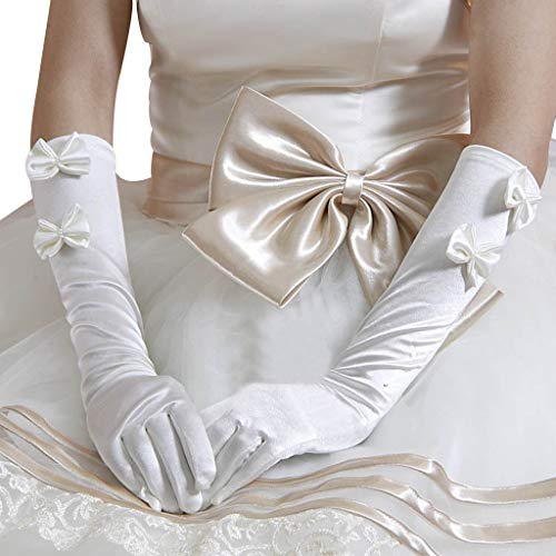 ballboU-1 Pair Women Bridal White Wedding Long Gloves, Double Bowknot Faux Pearl Decor Elbow Length Full Fingered Formal Party ()