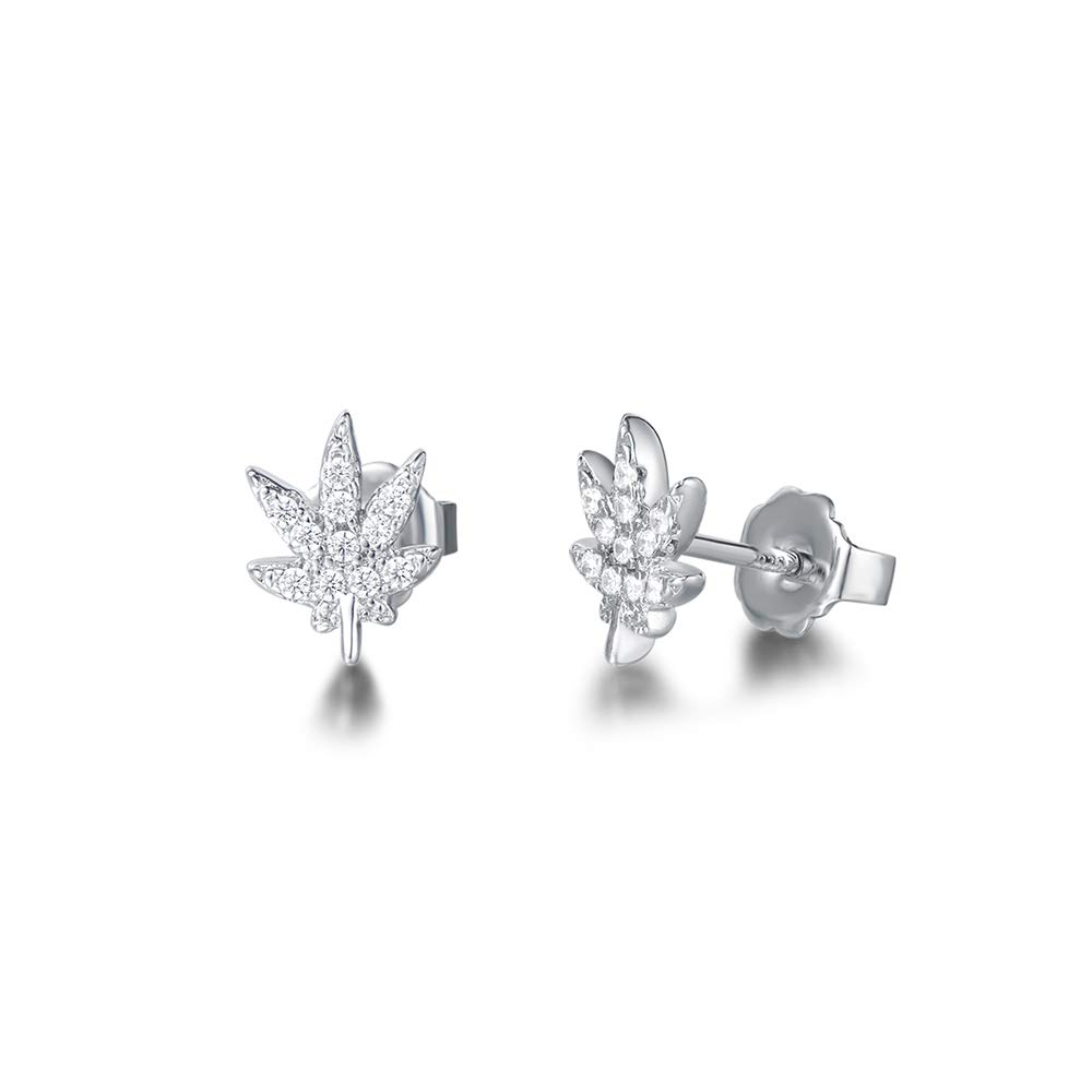 FANCIME White Gold Plated Cubic Zirconia CZ Hypoallergenic Small Leaf//Star//World Peace Stud Earrings Fashion Jewelry for Women Girls with Gift Box