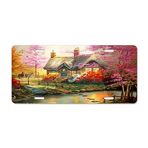 (FloralFlames Countryside Cottage Peaceful House Custom Aluminum License Plate Tag for Auto Cars, Metal Car Tag Cover for US Canada Vehicles, 12 x 6 Inch)