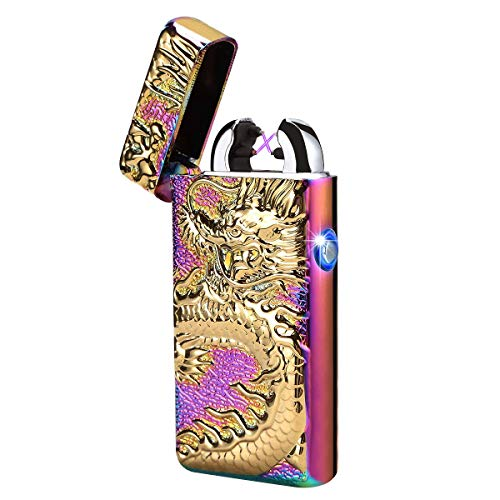 Full Chameleon Case (Kivors USB Rechargeable Windproof Flameless Electronic Pulse Double Arc Lighter Belief Chinese Dragon Loong Lighter (Chameleon))