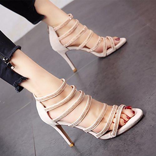 YMFIE Estilo Europeo con Damas de Verano Fashion High Heel Toe Toe Sandalias Diamond ahuecó Zipper Zapatos de tacón. b