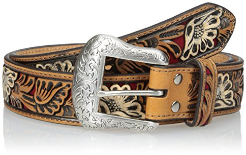 Nocona Belt Co. Men's Red Vintage Floral Inlay, 36