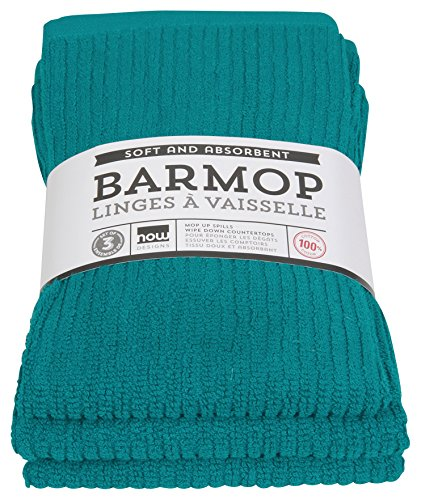 (Now Designs Bar Mop Kitchen Towels, Set of Three, Peacock Green)