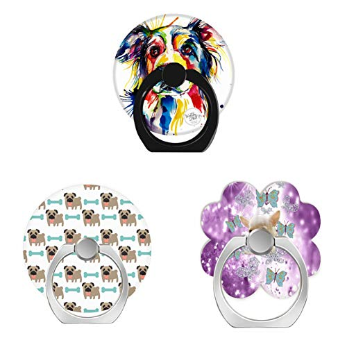 Bsxeos 360 Degree Rotation Cell Phone Ring Holder Finger Stand with Car Mount Work for All Smartphones and Tablets-darling pug and bone-diamond butterfly bling on purple glitter-dog watercolor(3 pack)