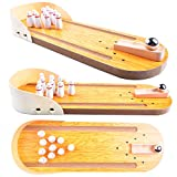 Wooden Mini Bowling Game Set with Lane: Best Interactive Desktop Game...