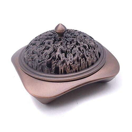 TrendBox Carved Dragons - Vintage Design Bronze Incense Cone Furnace Sandalwood Coil Burner Plate Holder Ash Catcher Chinese Traditional Style Buddhist Washable