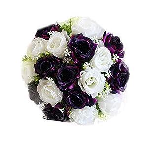 QHB Wedding Bridal Bouquet,18 Flower Heads Handmade Crystal Ribbon Rhinestone Wedding Bridesmaid Bouquet,Bridal Artificial Flowers for Wedding Cheap (B) 1