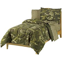 Dream Factory Geo Camo Army Boys Comforter Set, Green, Twin