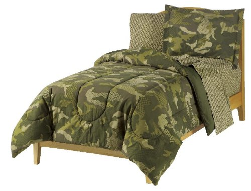 - Dream Factory Geo Camo Army Boys Comforter Set, Green, Full