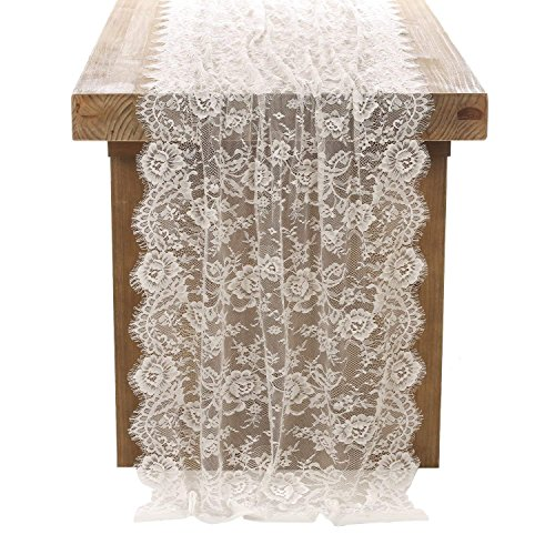 "Crisky 30"" x 120"" Lace Table Runners for Weddings Lace Overlay, Spring Summer Vintage Garden Tea Party Decor, Bridal Shower Decoration"