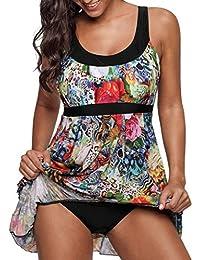 Crazycatz@ Womens Two Pieces Swimdress Tankini Swimsuit