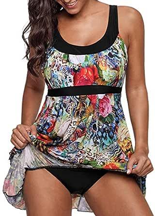 Crazycatz Womens Floral Print One Piece Swimsuit Swimdress (XXL AU 14)
