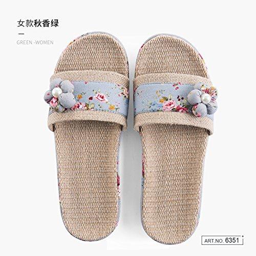 scarpe di cool stagioni biancheria donne Estate spessore e home pantofole fankou soggiorno Il pantofole coppie antiscivolo verde uomini carino indoor fTPxRz