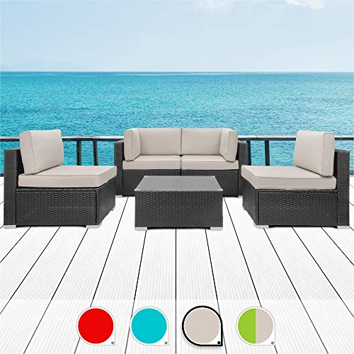 Walsunny 5pcs Patio Outdoor Furniture Sets,Low Back All-Weather Rattan Sectional Sofa with Tea Table&Washable Couch Cushions (Black Rattan) (Khaki)