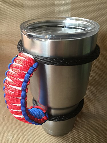 China Tumbler (USA Handmade Paracord Yeti / Ozark / Rtic Rambler 30 Oz Tumbler Handle, red,white and blue......