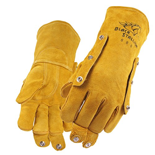 Black Stallion 580L FluxGuard Premium Cowhide Stick Welding Gloves - Large