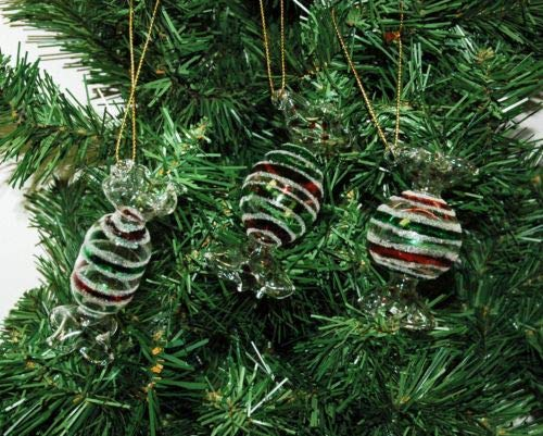 (Winter Happy Fun Set of 3 Glass Peppermint Candy Christmas Ornaments Tree)