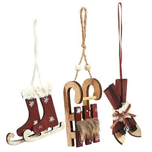 3-Pack of Christmas Tree Decorations – Wooden Hanging Xmas Ornaments, Decorative Festive Embellishments in 3 Winter Holiday Designs, Skis, Ice Skates, Sled (Red) Rustic Wooden Christmas Decorations
