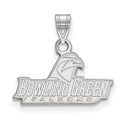 14k White Gold LogoArt Official Licensed Collegiate Bowling Green State University (BGSU) Small Pendant by Logo Art
