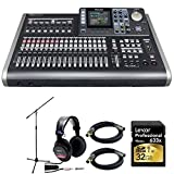 Tascam 24-Track Portable Recording Studio w/ 8-Track Simultaneous Capability w/Bundle + 32GB SD Class10 Card + Studio Monitor Headphones+ 2x XLR 10' M-F 16AWG Gold Plated Cable + Mic Stand w/Boom