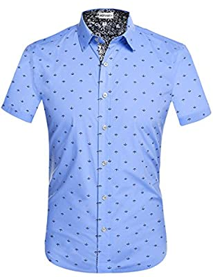 Hotouch Mens Slim Fit Fashion Short Sleeve Print Button Down Casual Shirts