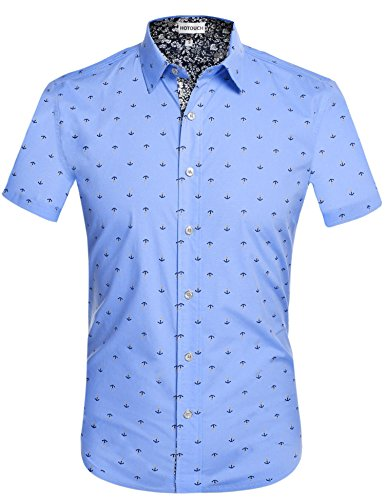 ca94d1119fc Hotouch Mens Slim Fit Fashion Short Sleeve Print Button Down Casual Shirts