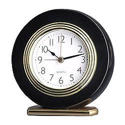Quality Analog Solid Wooden Mahogany Hotel Alarm Beep Clock Desk Clock (Piano Black A00103-1)