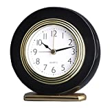 Quality Analog Solid Wooden Mahogany Hotel Alarm Beep Clock Desk Clock (Piano Black A00103-1)